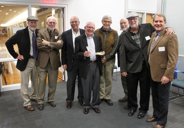 Clarkson and former staff photographers Jim Forbes, Jack Kenward, Rod Hanna, Clarkson, Bill Snead, Jim Richardson, Dave Peterson and Jeff Jacobsen (photo by Laura Jacobsen)