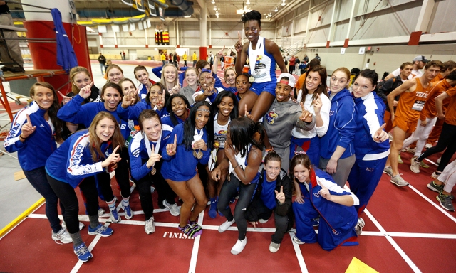 The KU women celebrated their Big 12 Indoor Championship.