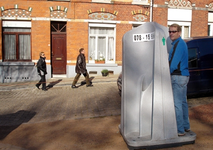 Open air urinal at the Tour of Flanders in 2007 (Laura Jacobsen)