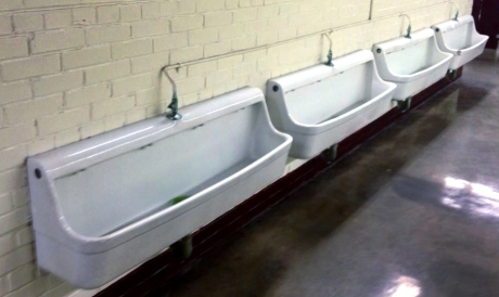 Trough urinals in Oklahoma's Memorial Stadium