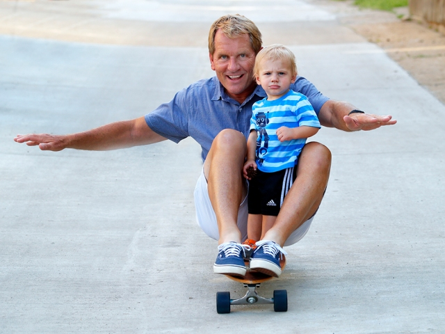 Riding with my buddy, Jake on Go Skateboarding Day. (Laura Jacobsen)