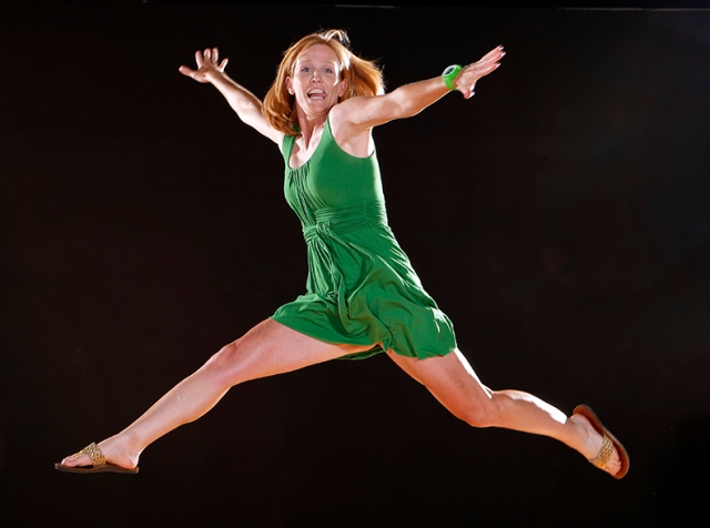 Laura leaping during a recent lighting test
