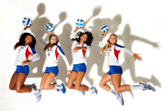 KU's outside hitters, one of the images that needed to be redone.