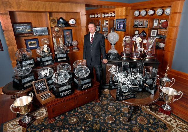 KU basketball coach Bill Self with an impressive hardware collection.