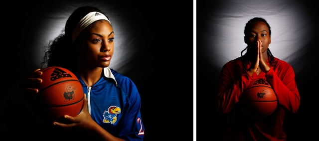 Two of the women's basketball portraits featuring  Jeda Brown and Keyla Morgan.