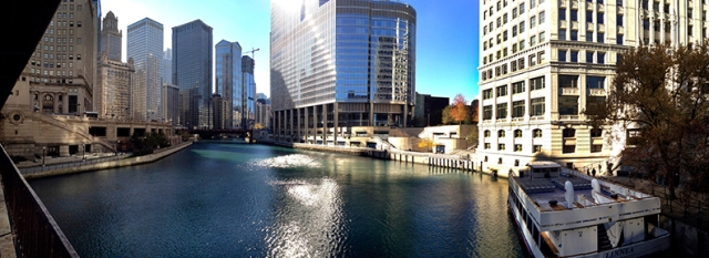 The Chicago River and the great city of Chicago.