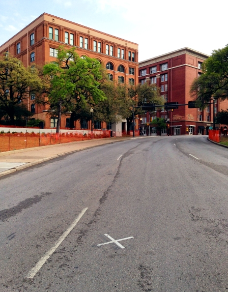 Dealey Plaza looking back from the point of the fatal shot to the Texas School Book Depository taken March 30, 2013