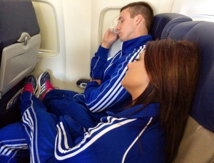 The sleeping KU cheerleaders.