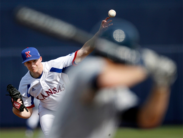 Wes Benjamin pitching against BYU in Peoria, Arizona.