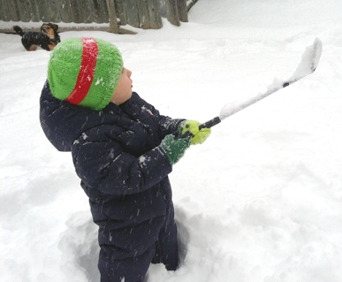 Jake working on his game in the snow.