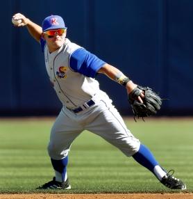KU shortstop Justin Protacio.