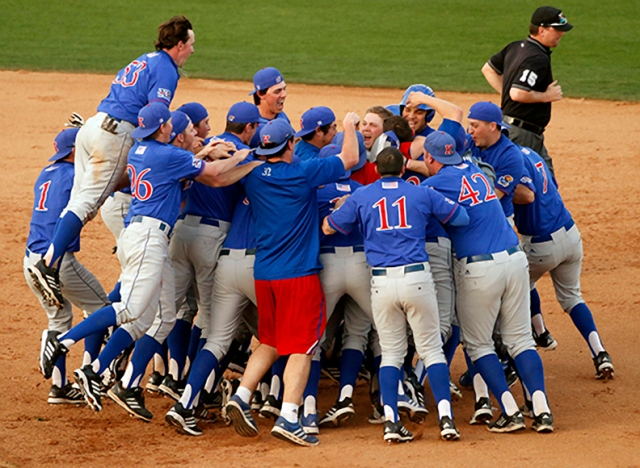 The team celebrated a walk-off hit by Tucker Tharp.