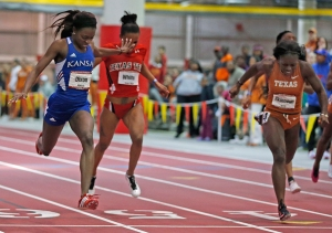 The finish of the 200-meter dash.