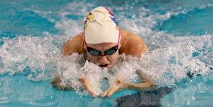 Miller swimming the breaststroke leg of the IM.