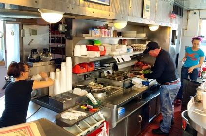 The White Knight Diner's tight confines.