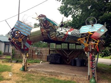A junk yard plane at a Katy Trail campsite.