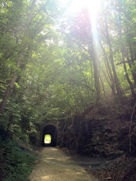 Coming upon the Rocheport tunnel