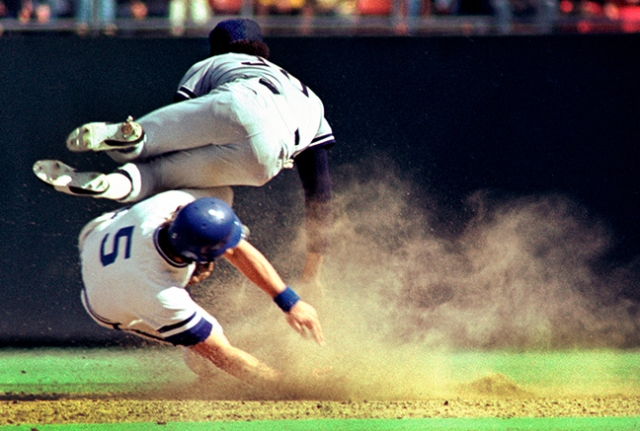 George Brett's aggressive style of baseball thrilled me for years. Here he took out Yankees' second baseman Willie Randolph in 1977.