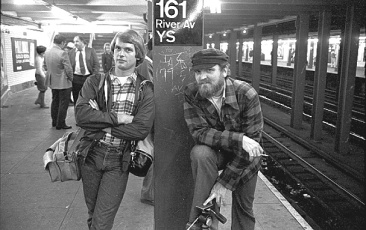 In the subway station heading for Yankee Stadium with Kansas City photographer Bob Barrett.  (George Olson)