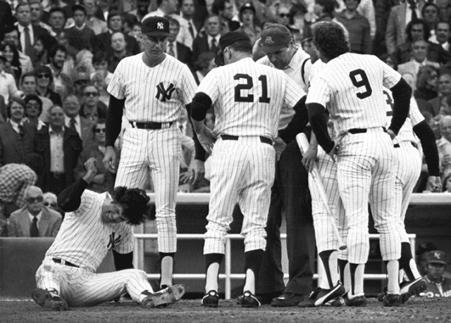 Lou Piniella threw a fit after being called out at the plate in 1978 at Yankee Stadium.