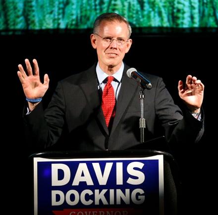 Paul Davis delivering his concession speech.