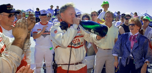 American sports car icon and Toyota team owner, Dan Gurney, enjoyed himself after the team's first victory.