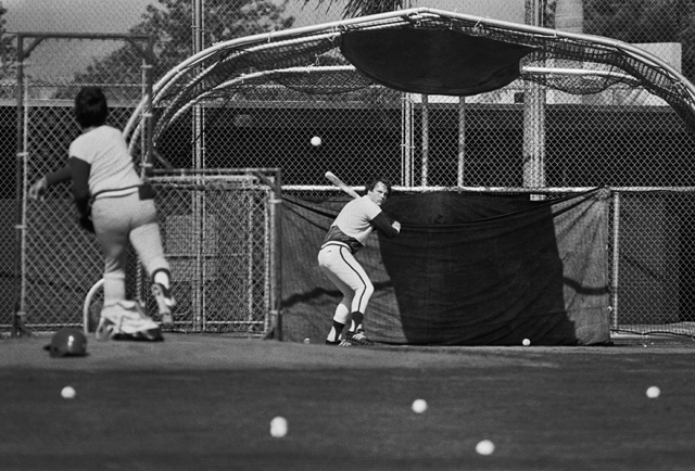 George Brett honing his swing during batting practice in February 1977 in Fort Myers, Florida.