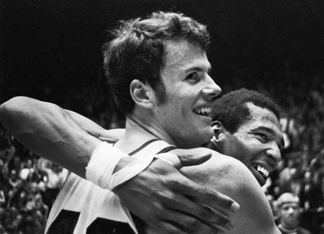 Dave Robisch and Roger Brown celebrated the victory that sent KU to the 1971 Final Four.