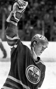 Gretzky celebrating a goal.