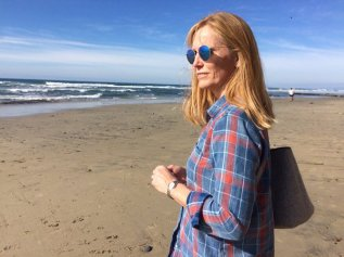 The beautiful Laura along the Pacific coast north of Sand Diego on our anniversary trip.