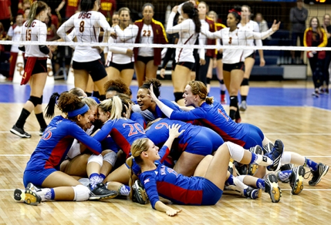 A pile of happy Jayhawks after victory over USC.