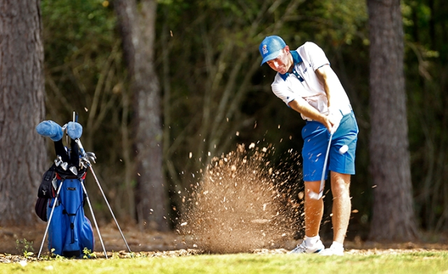 Daniel Hudson blasted out of the pine needles at the Ol' Colony Golf Complex.